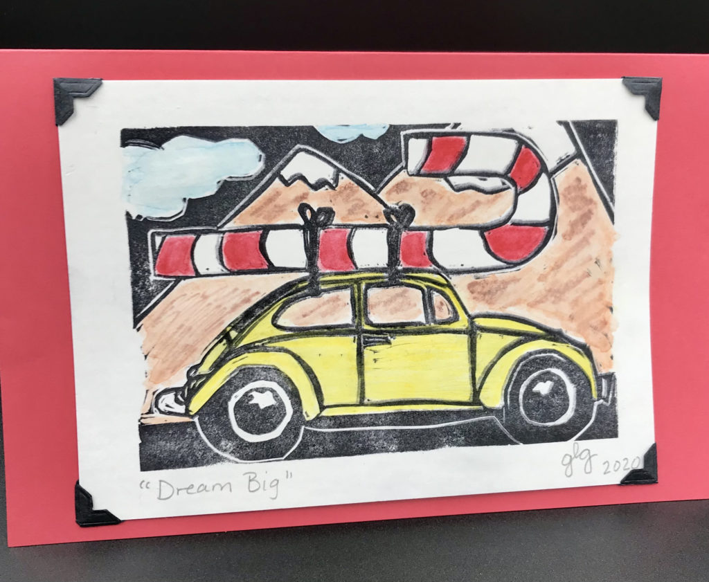 Christmas card with a yellow VW bug with a giant candy cane tied on top.