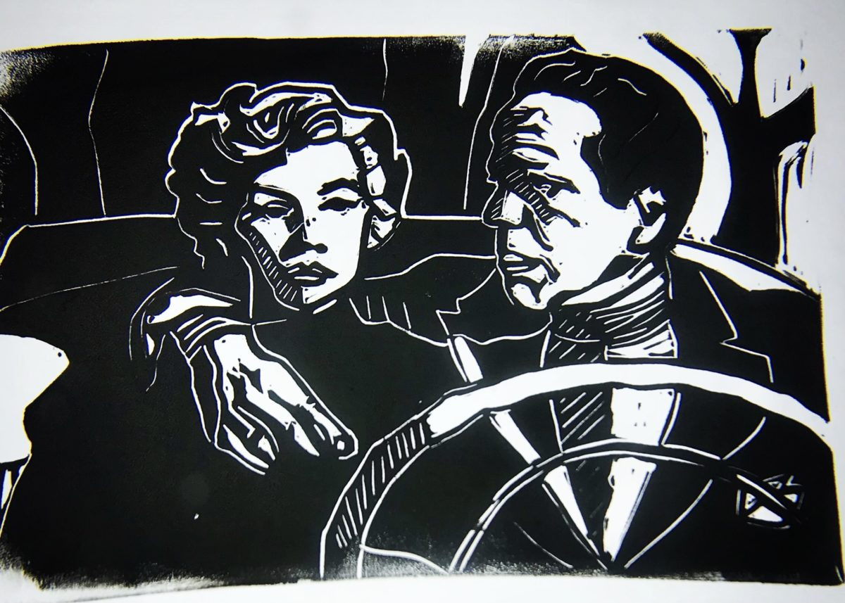 Black and white print of man and woman in the front seat of a car.